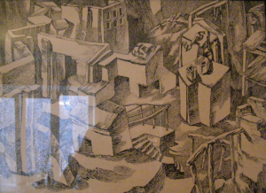 Ruined City. 1961. P., ink, pen. 41x59 or 1964. 37x60.