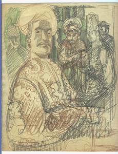 Sultan. 1962. P., graphite pencil, crayon. 27x22.
