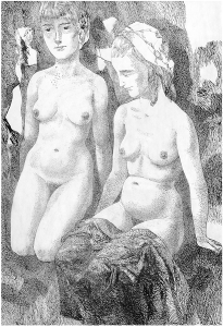 Two Naked Ladies. 1963. P., ink, pen. 59x41.