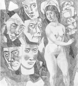 Masks and a Woman. 1963. P., ink, pen. 60х54.