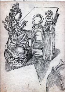 Still Life. 1960's. P., graphite pencil. 30x21.
