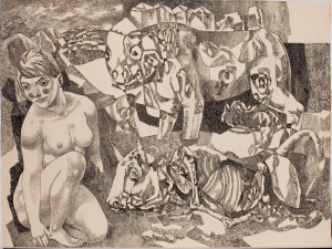 "Their Lust and Their End. From the cycle ""Do Not Forget."" 1964. P., ink, pen. 59.4×79.3. The State Tretyakov Gallery."