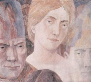 Festive celebration (portrait of Irina Pereselenkova). 1964. P., watercolor.