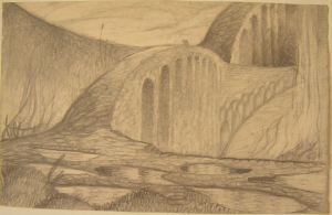 Bridge. 1930. P., pencil. 22х35.