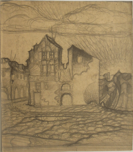 Old square. 1930. Paper, pencil. 27х23.