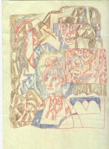 Her Men. 1968. P., graphite pencil, crayon. 29x21.