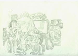 Family Life. 1968. P., graphite pencil. 21x30.