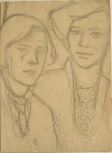 Friends. 1931. Paper, pencil. 32х23.