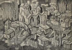 Square. 1969. P., ink, pen. 51x73.5. Kaliningrad State Art Gallery.