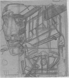 Head & constructions. Studies. 1931. P., pencil. 10х9.