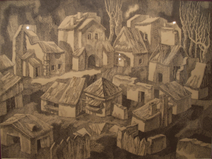 Shtetl. The Empty City. 1970. P., ink, pen. 44x60. Private collection.