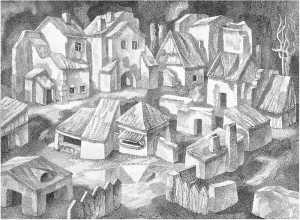 Shtetl. Replica. 1970. P., ink, pen. 44x60.