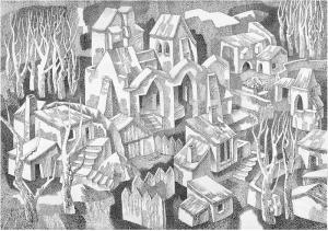 Monastery. 1970. P., ink, pen. 44х64.