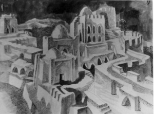 The Birthplace of Al-Farabi. Fortress. 1970. P., Ink. 44.6x60.8.