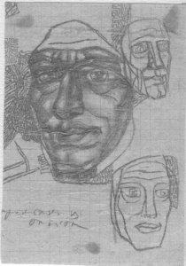 Head & contours. Studies. 1931. P., pencil. 13х9.
