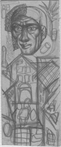 Head over the houses. Studies. 1931. P., pencil. 14х6.