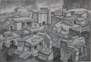 Deserted City. 1970's. P., ink, pen. 40x55.