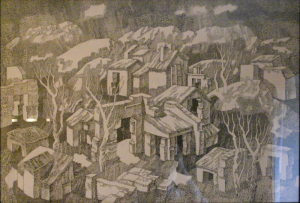 Abandoned Сity. 1974. P., ink, pen. 52x73.