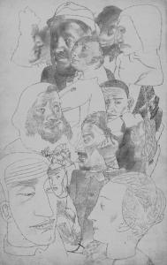 Головы. 1932-1938. Б., кар. 35х22.