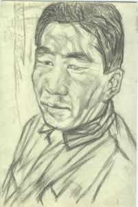 Pensive One. 1933. Paper, pencil. 27х18.