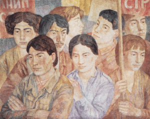 Detachment of construction workers. 1980-1981. P., watercolor.
