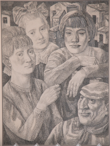 Group Portrait. 1970's. P., ink, pen.