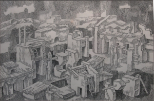 Experiments I. Deserted City. 1981. P., ink, pen. 49x72.