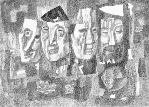 Masks. 1983. P., ink, pen. 49.5x69.