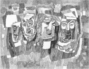 Masks. 1984. P., ink, pen. 46х58.