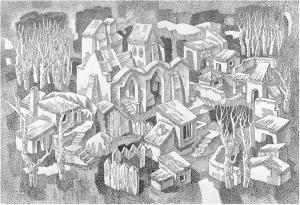 Monastery. 1984. P., ink, pen. 51х74.