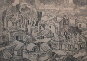Suburb. 1980's. P., ink, pen. 55x75.