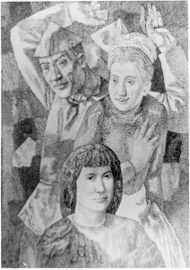 Man with Arms Raised and Two Women. 1985. P., Ink. 73,2x52,4.