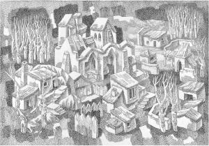 Monastery. 1985. P., ink, pen. 50х73.