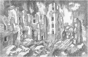 Street. Leningrad. 1985. P., ink, pen. 49x75.5.