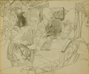 Meeting in Lenfilm's Screening Room. 1935. P., pencil. 38,5х28,5. State Tretiakov Gallery.
