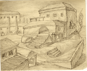Buildings of Thick Foundation. 1936. P., pencil. 15х18,5.