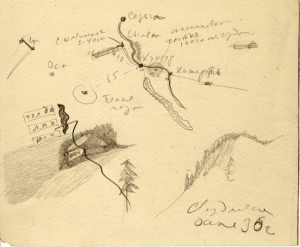 Map of Kungur's surroundings. 1936. P., pencil. 15х18,5 (reverse of @Buildings on thick foundation).