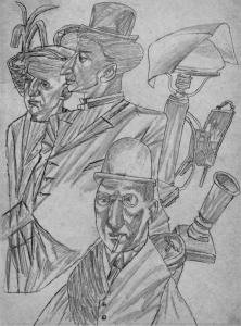 Artists. 1936. P., pencil. 26х20.