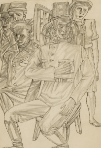 Meeting. 1936. P., pencil. 32х22,2. State Tretiakov Gallery.