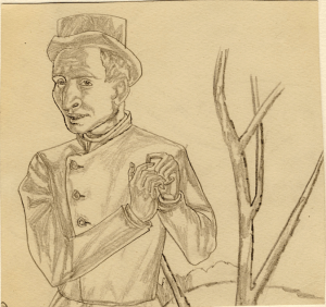 By the Bush. 1935-1938. P., pencil. 16х16,5.