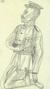 Soldier. 1936. P., pencil. 30х17.