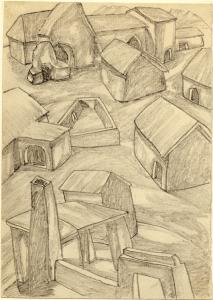 Barns. 1937. P., pencil. 21х15.