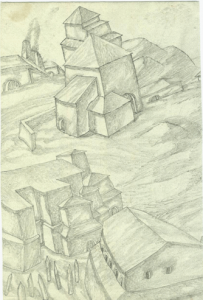 Houses and Stakes. 1937. P., pencil. 21х14.