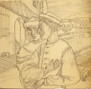 Shtetl. 1938. P., pencil. 19,5х21,5.