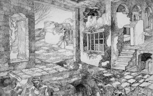Ruined Walls. 1938-1939. P., ink, pen. 21х18.