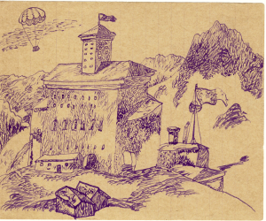 Castle. Mountains. Parachute. 1930's. P., ink. 10х13. Collection of E.Gribonosova-Grebneva.