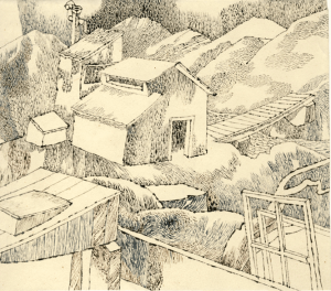 Small Houses. Bridge. 1930's. P., ink. 10х13.
