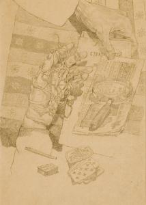 Still Life with Hands. 1930's. P., pencil. 30,3x21,5. State Tretiakov Gallery.