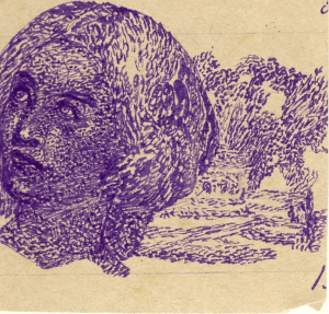 Woman's Head. 1930's. P., ink. 5,5х6.