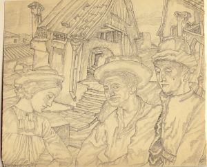 Shtetl. Three. 1940. P., pencil. 20х23.